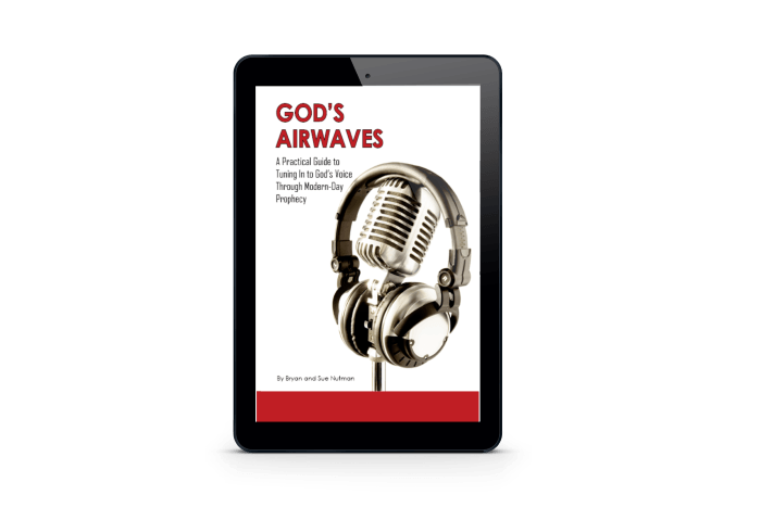 book cover for Gods Airwaves book on a black tablet